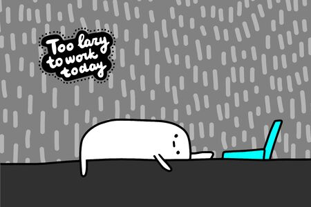 Too lazy to work today hand drawn vector illustration in cartoon comic style tired man can't reach laptop lettering Foto de archivo - 134237992