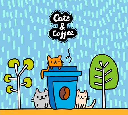 Cats and coffee hand drawn vector illustration in cartoon comic style lettering textured background Foto de archivo - 134237996
