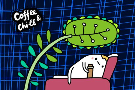 Coffee and chill hand drawn vector illustration in cartoon comic style man laying on bed under big plant lettering Foto de archivo - 134238004