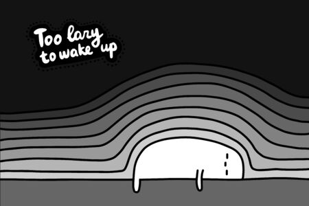 Too lazy to wake up hand drawn vector illustration in cartoon comic style man under layers of blankets lettering Foto de archivo - 134238000