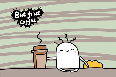 But first coffee hand drawn vector illustration in cartoon comic style sleeping man just woke up lettering
