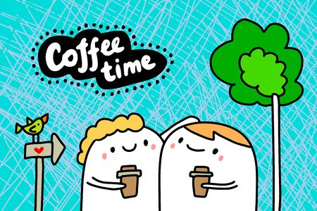 Coffee time hand drawn vector illustration in cartoon comic style couple together drinking lettering Foto de archivo - 134238065