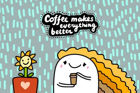 Coffee makes everything better hand drawn vector illustration in cartoon comic style woman happy holding cup of drink lettering Foto de archivo - 134238072