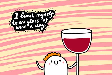 I limit myself to one glass of wine a day hand drawn vector illustration in cartoon comic style man holding very big portion  イラスト・ベクター素材