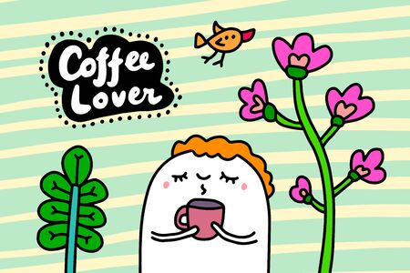 Coffee lover hand drawn vector illustration in cartoon comic style man holding cup textured lettering Çizim