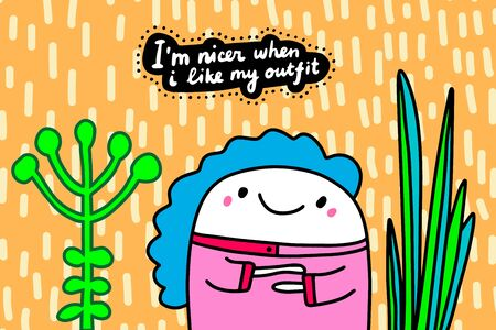 I am nicer when like my outfit hand drawn vector illustration in cartoon comic style man in pink textured background Illusztráció