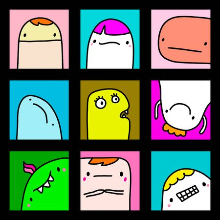 Big cartoon set in comic style monsters expressive avatars logo blue yellow purple head face