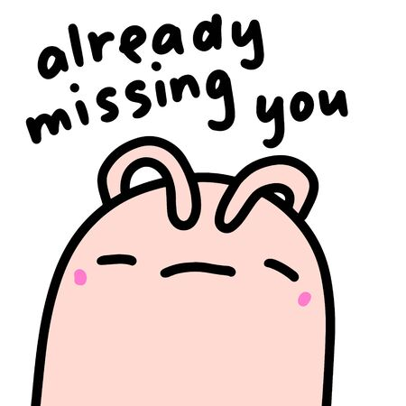 Already missing you hand drawn vector illustration in cartoon comic style sad rabbit closing eyes 일러스트