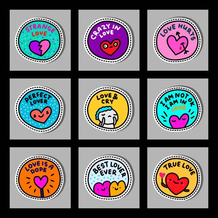Sticker emotional loving set hand drawn in cartoon comic style round colorful vibrant pin
