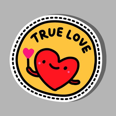 True love hand drawn vector illustration in cartoon comic style smiling heart sticker pin red orange