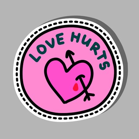 Love hurts hand drawn vector illustration in cartoon comic style pink pin sticker passion