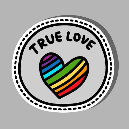 True love hand drawn vector illustration in cartoon comic stlye rainbow palette symbol sticker Иллюстрация