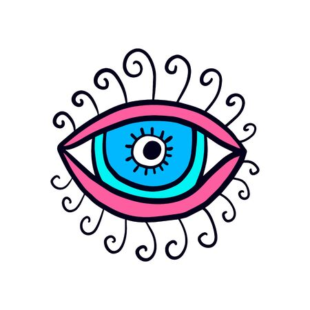 Open eye with lashes hand drawn vector illustration logo in cartoon comic stlye blue pink colors spiral Illustration