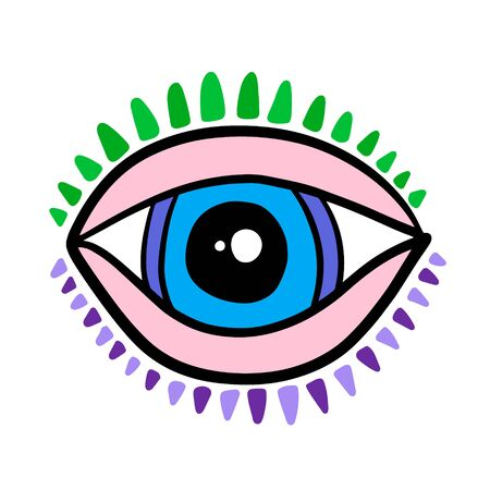 Open eye with lashes hand drawn vector illustration logo in cartoon comic stlye blue pink colors green Illustration