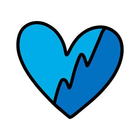 Broken cold heart blue hand drawn vector illustration in cartoon comic style
