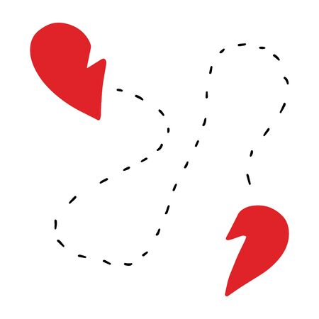 Two parts of heart searching each other hand drawn vector illustration in cartoon comic style red black line