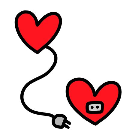 Two hearts hand drawn vector illustration in cartoon comic style electric plug and socket charging