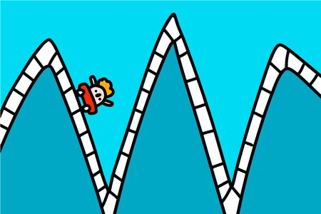 Rollercoaster hand drawn vector illustration in cartoon comic style man falling down after climbing zigzag process business metaphore