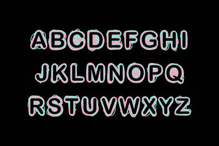 Black turquoise pink font type in creative style hand drawn for prints posters cards