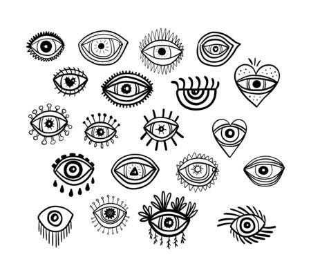 Big spiritual eyes set hand drawn vector illustration in cartoon comic style black white contrast