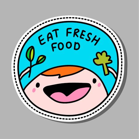 Eat fresh food hand drawn vector illustration pin sticker patch man happy holding broccoli and spinach coronavirus prevention diet
