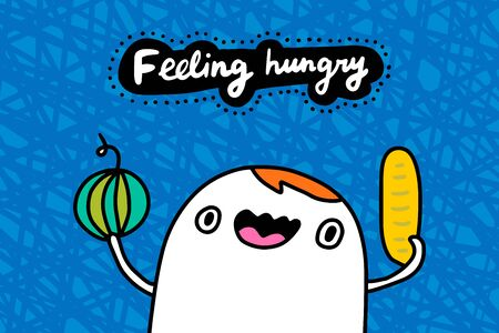 Feeling hungry hand drawn vector illustration in cartoon comic style man holding bread and watermelon textured background