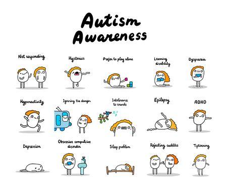 Autism awareness set of symptoms hand drawn vector illustrations in cartoon comic style people active depressive