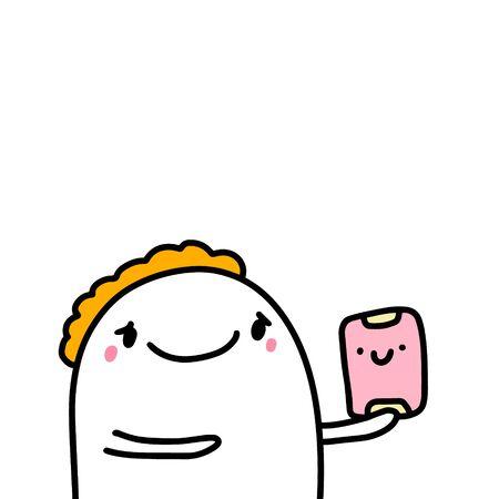 Man holding lunchbox hand drawn vector illustration in cartoon comic style kawaii face head print poster card
