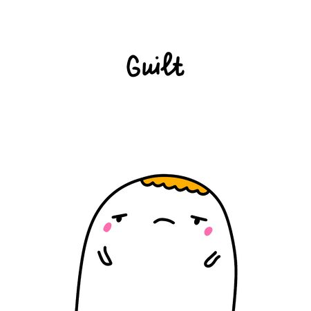 Guilt bipolar disorder symptom man expressive in cartoon comic style illustration Stock Illustratie