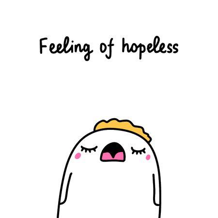 Feeling of hopeless bipolar disorder symptom man expressive in cartoon comic style illustration