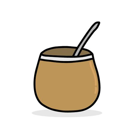 Calabash brown with mate drink hand drawn vector illustration in cartoon comic style icon
