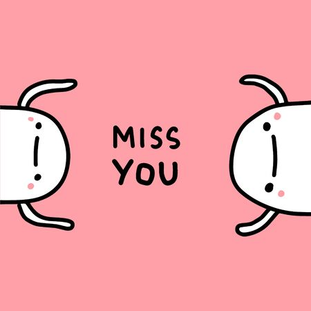 Miss you hand drawn vector illustration in cartoon comic style people together love apart feelings emotions 向量圖像