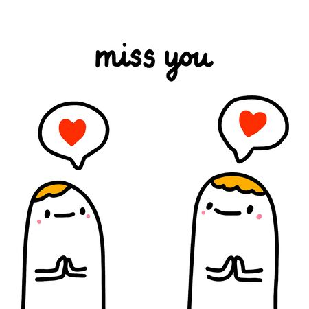 Miss you hand drawn vector illustration in cartoon comic style people expressive speach bubble 向量圖像