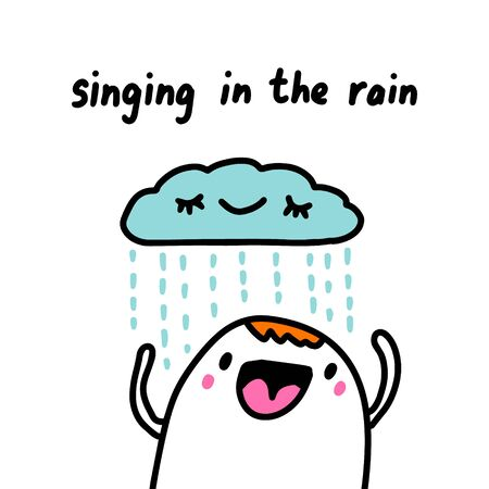 Singing in the rain hand drawn illustration in cartoon comic style weather forecast