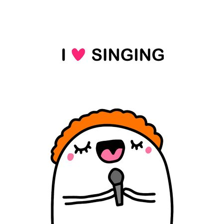 I love singing hand drawn illustration in cartoon comic style man happy vocal classes hobby