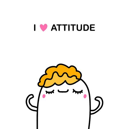 I love attitude hand drawn vector illustration in cartoon comic style man with closed eyes kawaii face