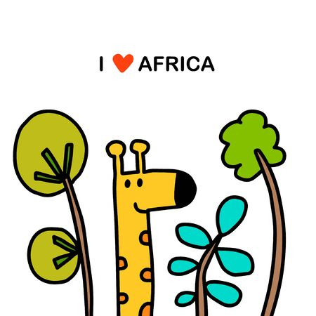 I love africa hand drawn vector illustration in cartoon comic style giraffe and plants green savanna