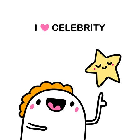 I love celebrity hand drawn vector illustration in cartoon comic style man shows star shining
