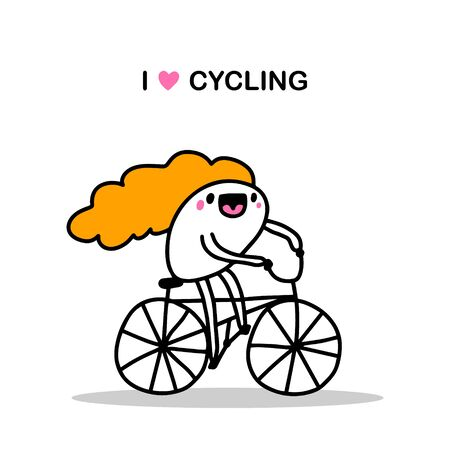 I love cycling hand drawn vector illustration in cartoon comic style woman driving bike happy