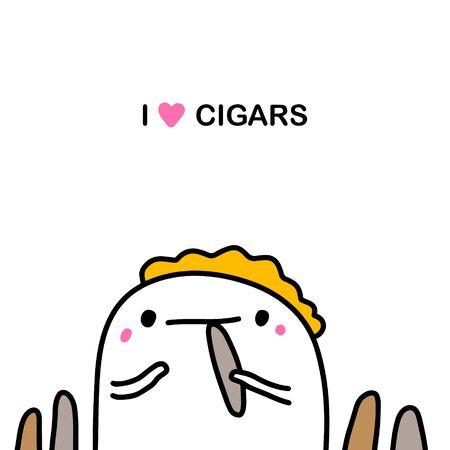 I love cigars hand drawn vector illustration in cartoon comic style man smoking kawaii face