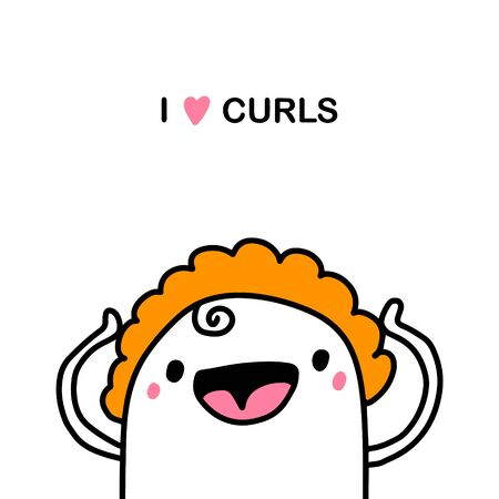 I love curls hand drawn vector illustration in cartoon comic style woman happy with her hair style expressive Ilustração
