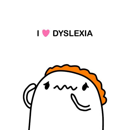 I love dyslexia hand drawn vector illustration in cartoon comic style man has trouble with speaking language Illustration