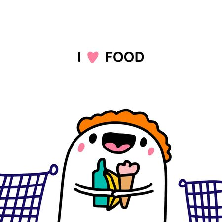 I love food hand drawn vector illustration in cartoon comic style man gathering products store grocery