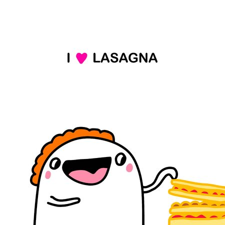I love lasagna hand drawn vector illustration in cartoon doodle style man touching dish traditional