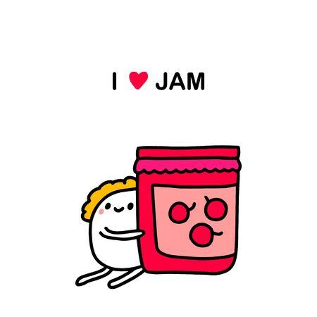 I love jam hand drawn vector illustration in cartoon comic style man holding bottle with sweet berries dessert Ilustracja