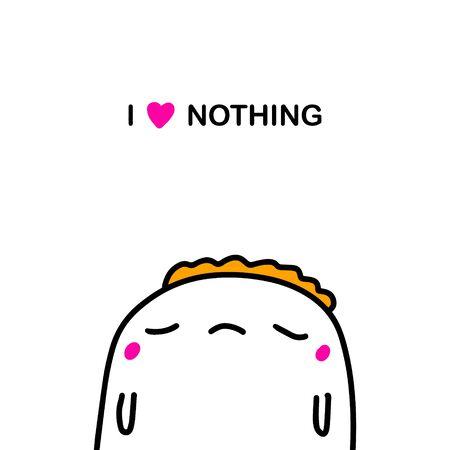 I love nothing depressive hand drawn vector illustration in doodle style man lost expressive Illustration