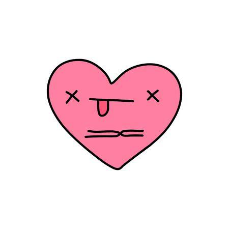 Dead heart symbol doodle illustration icon in cartoon comic kawaii face pink Ilustracje wektorowe