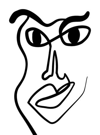 Modern Abstract Face Portrait. Linear Ink Brush. Line Art Current Contemporary Continuous Cubism Painting. Fashion Style Black And White Abstraction Poster. Vector Illustration Clipart. 向量圖像