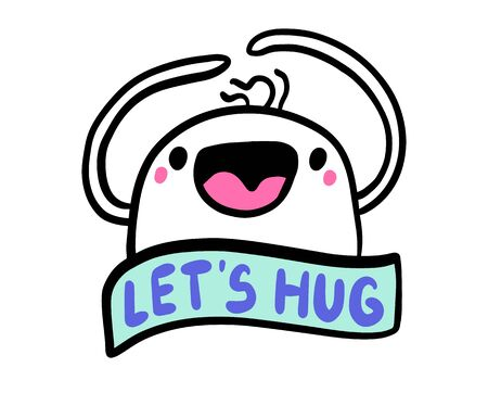 Let's hug hand drawn vector illustration in cartoon comic style man cheeful tender lettering label