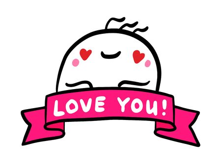 Love you hand drawn vector illustration in cartoon comic style man expressive tender feelings 向量圖像